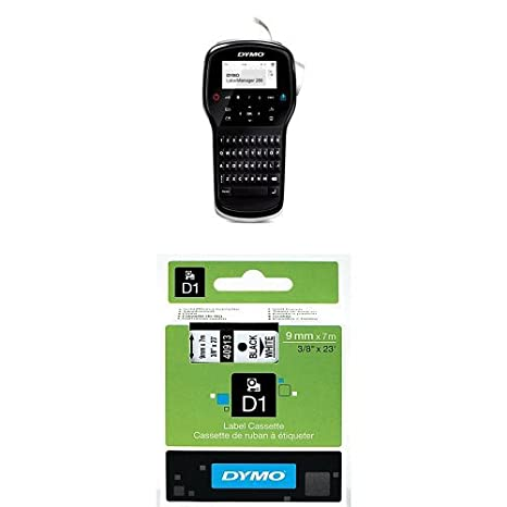 Dymo LabelManager 500TS Touch Screen Handheld Label Maker QWERTY Keyboard and D1 Standard Labelling Tape of 24 mm x 7 m - Black on White