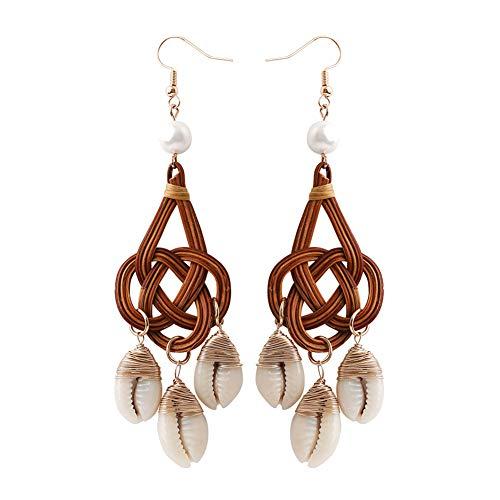 Women Cowrie Shell Tassel Rattan Charm Faux Pearl Statement Hook Earrings Gift Coffee