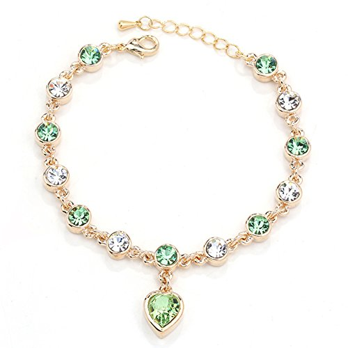 Swarovski 18k Bracelet (TEKIMBE Swarovski Crystal Bracelet 18K Gold Plated Cubic Zirconia Bangle Heart Bracelet Valentine Gift for Women Girls Fashion Jewellery)