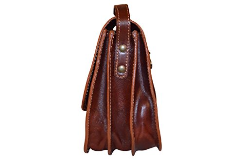 Dark Brown Shoulder Handmade Style Handbag 12 Classic Crossbody Saddle X 27 Cm 21 Women's Bag Genuine Leather Bag Italian FrzxTFU