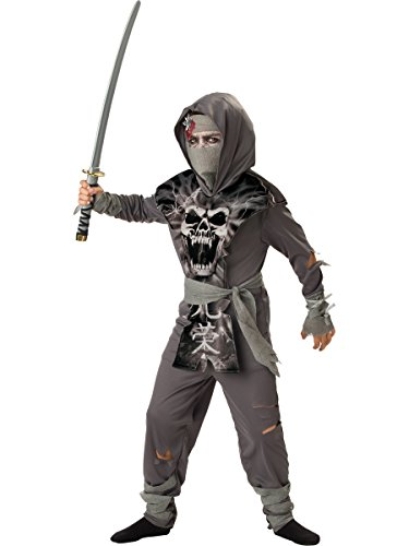 Zombie Costumes For Toddler (InCharacter Costumes, LLC Boys 8-20 Zombie Ninja Tabard Set, Gray, Medium)