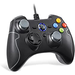 [New Year Gifts for Gamer] EasySMX Wired Game Controller Joystick with Dual-Vibration TURBO and TRIGGER Buttons for Windows/ Android/ PS3/ TV Box (Gray)