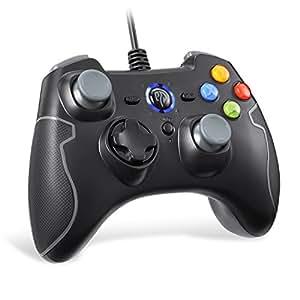 EasySMX Mando para PC, PS3 Gamepad Alámbrico, Joystick con los Botones de Doble-Vibración Turbo y Trigger Compatible con Windows/Android/ PS3/ TV Box (Gris)