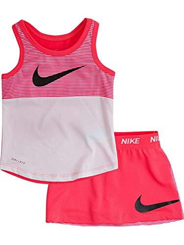 Nike Toddler Girls Outfit Hot Pink Stripe Tank Top & Swoosh Skort Skirt 4T