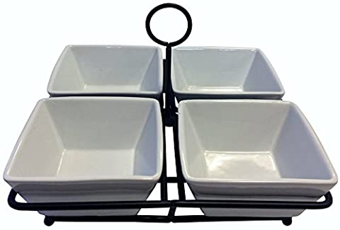 4 Bowl Condiment Dish Rack Set - White Porcelain Ceramic Caddy - Condiments, Nuts, Ice Cream, Snacks, Candy Serving Bowls - Simply Delicious Muffins