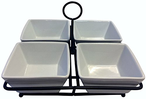 4 Bowl Condiment Dish Rack Set - White Porcelain Ceramic Caddy - Condiments, Nuts, Ice Cream, Snacks, Candy Serving Bowls - - 4 Tier Oval Shelf Cart