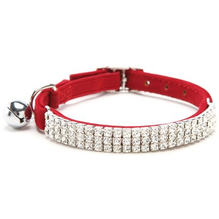 (BINGPET Adjustable Cat Collar Soft Velvet Safe Collars Bling Diamante with Bells,)