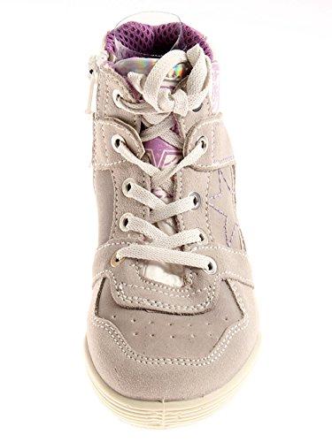 iMac Mädchenschuhe Hi Top Sneaker Knöchelschuhe Leder grau 1507