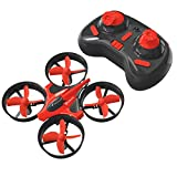 EACHINE Mini UFO Quadcopter Drone, E010 2.4GHz 6-Axis Gyro Remote Control Nano Drone for Kids Adults Beginners - Headless Mode, 3D Flip, One Key Return (Red)