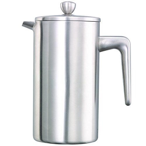 Service Ideas PDWSA800BS Double Wall Coffee Press, Stainless Steel, Brushed, 27 oz. by Service Ideas