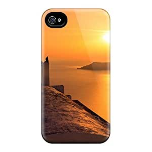 Excellent Iphone 4/4s Case Tpu Cover Back Skin Protector Sunset Over A Church On A Greek Isle