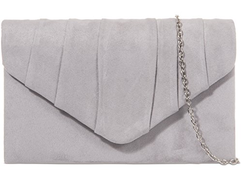 EVENING Grey PLEATED HAND CLUTCH SUEDE PARTY PLAIN BAG WEDDING fi9® LADIES PROM PURSE Sq0Tx747w