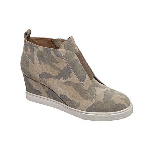 (Felicia | Our Original Platform Wedge Sneaker Bootie in Cream/Coffee Camo Split Suede)