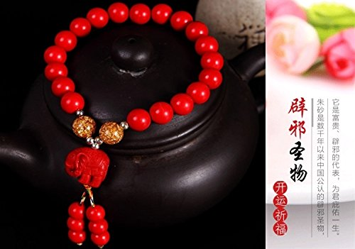 Generic Every day special] genuine cinnabar couple hand chain bracelet bangle wristband bracelets men and women of prayer beads to ward off evil transit beads birthday gifts by Generic (Image #3)