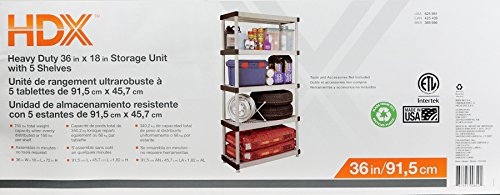 "HDX 36"" x 72"" 5-Tiered Ventilated Plastic Storage Shelving Unit w/ Raised Feet and Tool-Free Assembly by HDX (Image #6)"