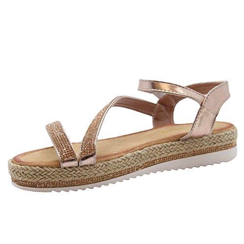 Sandaalit 3 Kiila Kuullota Flatform Naisten Nro Strappy Tyylit 8 Samppanjaa Naisten Kengät Tasainen Vaaleanpunainen Espadrillokset Diamante 1TxTI7zw