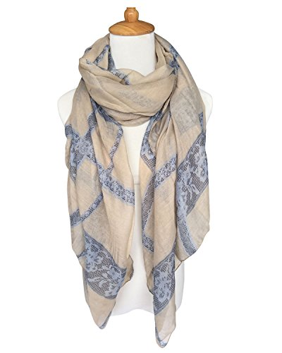 GERINLY Lightweight Shawl Wrap: Pretty Lace And Stripes Print Scarves - Lace Scarf Print