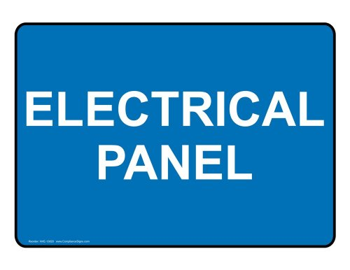 ComplianceSigns Vinyl Electrical Panel Label, 7 x 5 in. with English, Blue