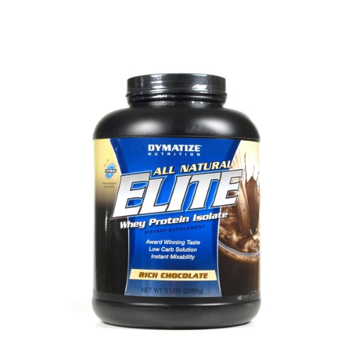 Dymatize Nutrition Elite Natural Whey Protein Isolate, Rich Chocolate, 5-Pounds