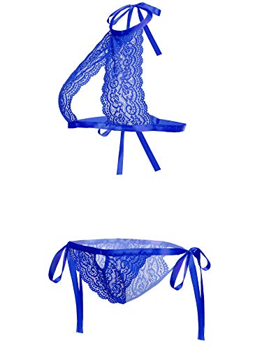 ADOME Women Lingerie Set Lace Teddy Babydoll Bra and Panty Set Nightgown Royal Blue