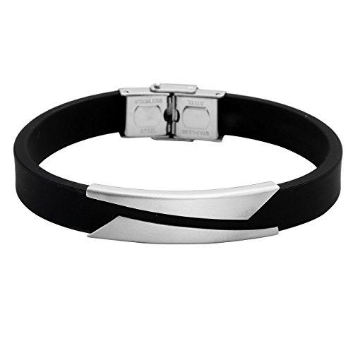 (PiercingJ Personalized Custom Engraved Name Mens Silver Golden Stainless Steel Black Rubber Elegant Cuff Bangle Bracelet ID Tag Bracelets)