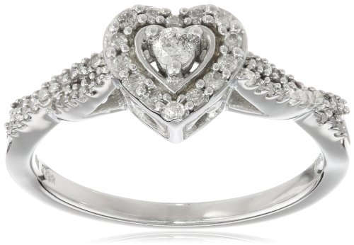 10K White Gold Diamond Heart Engagement Ring (1 and 4 cttw, I-J Color, I2-I3 Clarity), Size 6