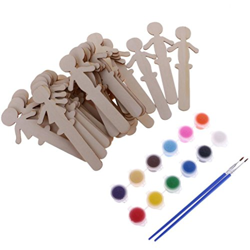 Oldeagle 32Pcs Cute Boys Girls Blank Wooden Sticks Popsicle Dolls Cake Topper Kids Painting Craft ()