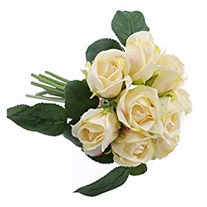 IPOPU Silk Artificial Flowers Fake Rose Flower for Home Hotel Office Office Wedding Bouquet, 9 Heads 61