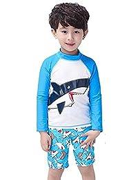 Kids Boy Letter Print Long Sleeve Rash Guard Swimsuit UV Protection Swimwear Set