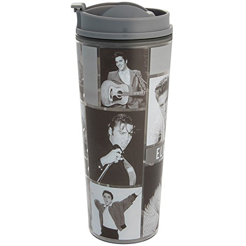 16 Oz Travel Johnson Tumbler (Elvis Presley Photo Collage 16 OZ Acrylic Tumbler w/ Screw-On Flip Top Lid)