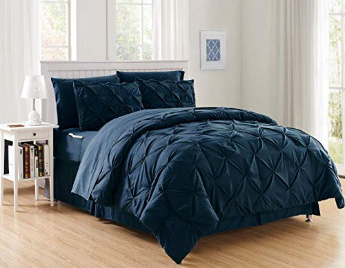 Decotex 8 Piece Luxury Juliet Pintuck Style Bed in a Bag Comforter Bedding Set with Sheets (Queen, Navy Blue)
