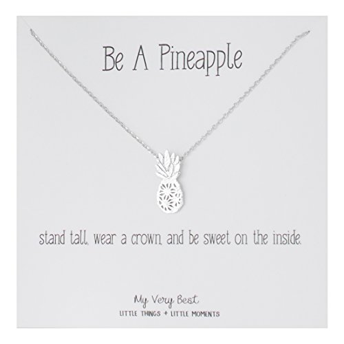 My Very Best Dainty Pineapple Necklace Be A Pineapple_Stand Tall. wear a Crown, and be Sweet on The Inside. (Silver Plated Brass)