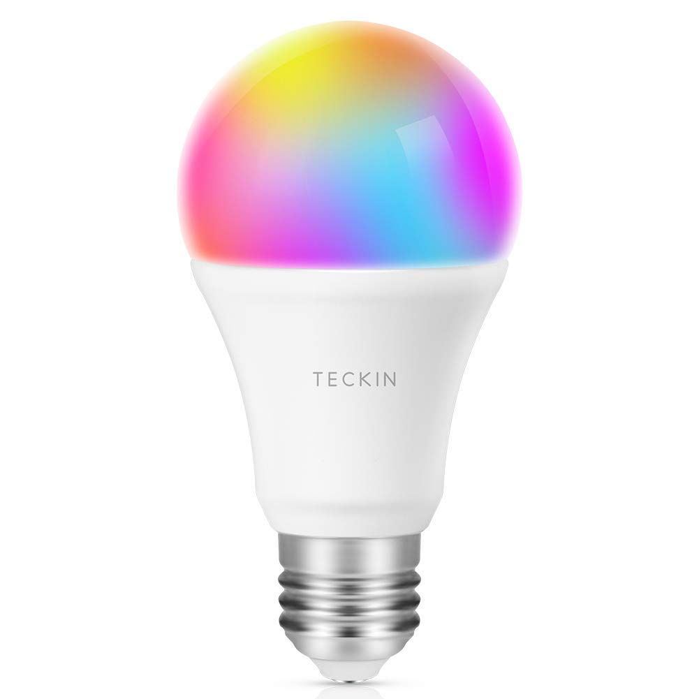 Google Home and IFTTT TECKIN A19 60W Equivalent RGB Bulb Echo Smart Light Bulb LED WiFi Lampe Dimmable and Multicolor Works with Alexa with Schedule Function 7.5W No Hub Required E27 1 Pack