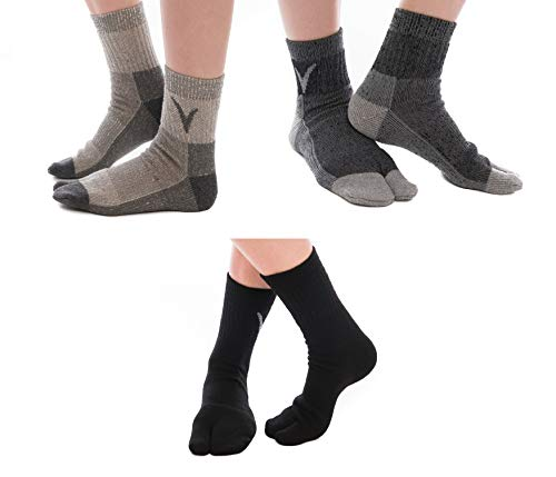(3 Pairs V-Toe Wool Warm Flip-Flop Big Toe Tabi Outdoor Indoor Stylish Hiking Or Casual Men, Womens, Girls Or Boys Socks Black, Dark Grey, Light Grey)