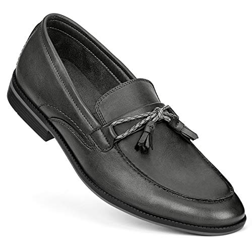 GM GOLAIMAN Men's Dress Shoes Slip On Modern Moc Toe Tassel Driving Shoe Work Loafer Grayish Black 11]()