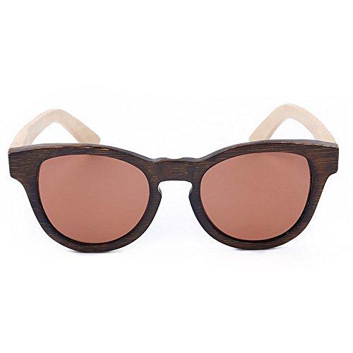hombres de alta Ojos a polarizada de TAC UV de Gafas de Lente bambú Protección hechos gato calidad los de Gafas de conducción p Gafas sol de de color la marrón alta sol de de Retro sol calidad de mano Z8Pnz0P