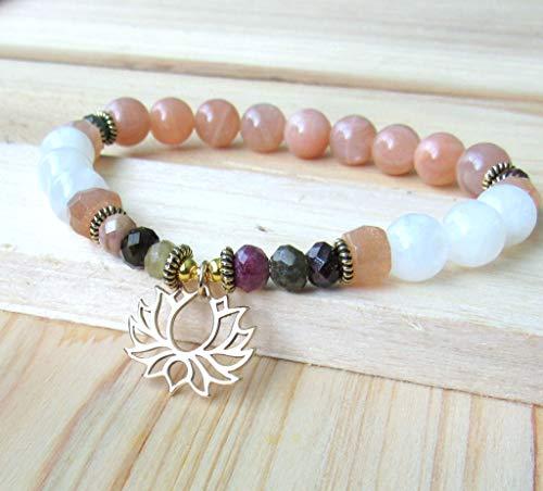 Moonstone Lotus Yoga bracelet with Tourmaline, white and peach moonstone, High quality beaded bracelet - Fertility