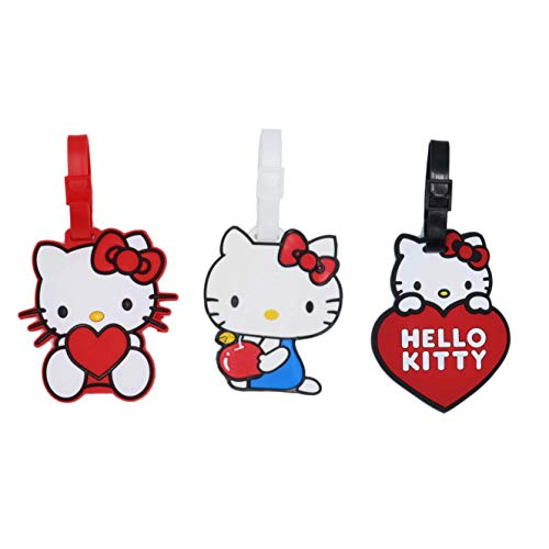Set of 3 - Super Cute Kawaii Cartoon Silicone Travel Luggage ID Tag for Bags (Hello Kitty 2) ()