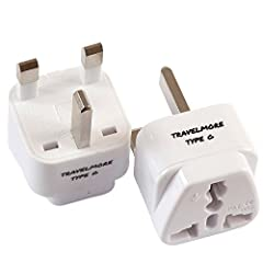 TRAVELMORE TYPE G PLUG ADAPTER  This TYPE G plug outlet adapter is perfect for traveling to United Kingdom, Middle East, Africa, and Asia. It works in UK, Great Britain, Ireland, London, Dublin, Hong Kong, Malta, Malaysia, Abu Dhabi, Bahrain,...