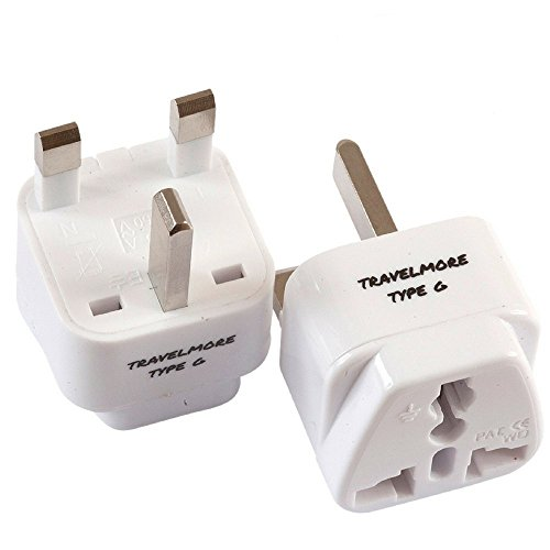 2 Pack UK Travel Adapter for Type G Plug - Works with Electrical Outlets in United Kingdom, Hong Kong, Ireland, Great Britain, Scotland, England, London, Dublin & - Embassy International