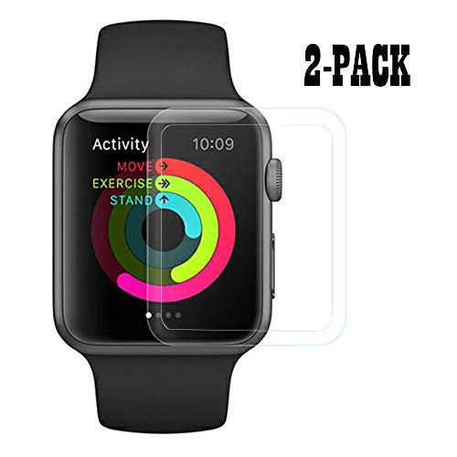 [2-Pack] HOMRUI Apple Watch Series 4 40mm Glass Screen Prcotector, 3D Curved Full Coverage Tempered Glass Screen Protector for iWatch 40mm 2018 (Transparent Edge)