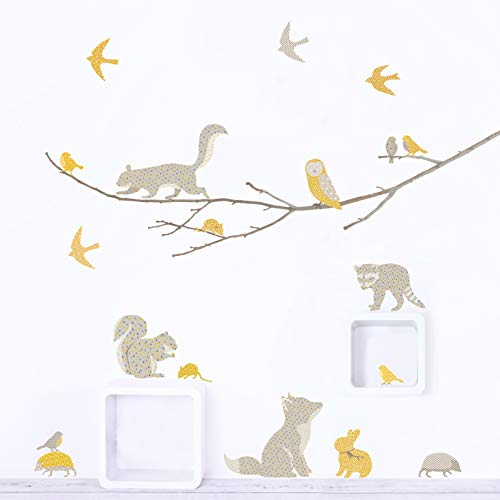 (Woodland Animals on Branch Fabric Wall Decals ~ Wall Stickers for Baby Nursery and Children's Rooms. Reusable Decals Made of Fabric, not Vinyl ~ Free from BPA & Phthalates. (Yellow & Gray, Small) )