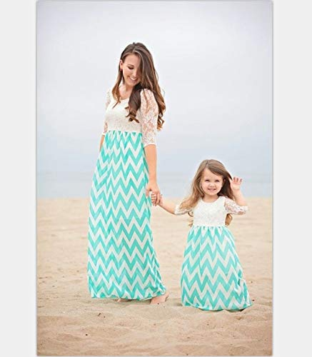 bdb09a2f92177 Mother Daughter Dresses Bohemian Wave Striped mom and Daughter Dress ...