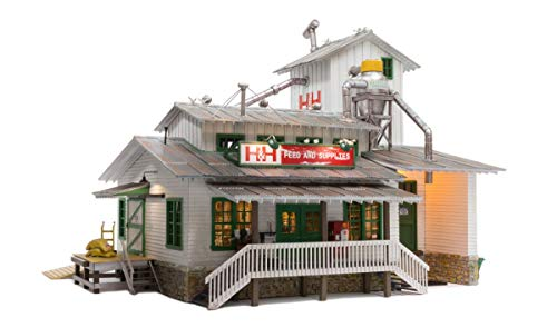 WOODLAND SCENICS LIGHTED H&H FEED MILL BUILT & READY O GAUGE train lit - Lighted Train