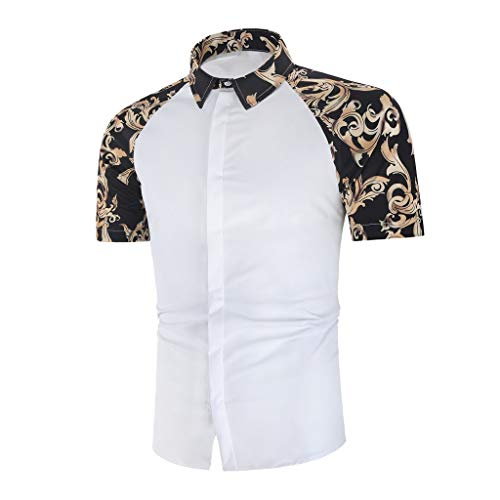 Trule Casual Shirts Summer Mens Print Shirts Casual Short Sleeve Beach Tops Loose Turn-Down Collar Blouse