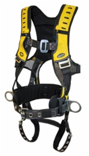 Guardian Fall Protection 193040 Construction Premium Edge Harness with Pass-Thru Chest Buckle, Waist Tounge Buckle and Leg Tounge Buckles, Small (Harness Guardian Construction)
