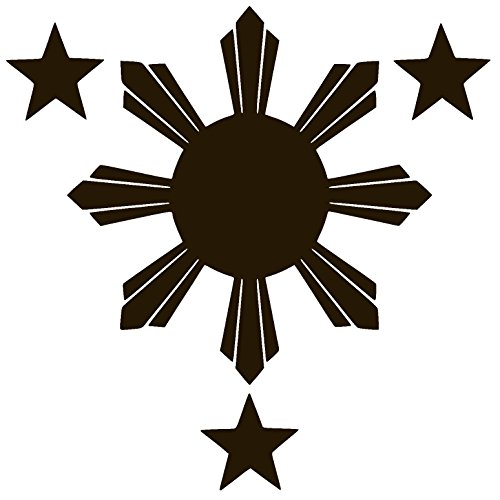- Philippines Flag 1 Sun and 3 Stars Vinyl Sticker Decal (6