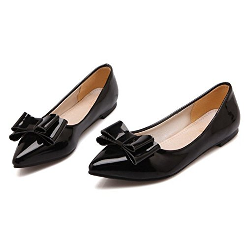Smilice Women Slip-on Pumps with Bows Flat Heel Shoes Size 1-13 US