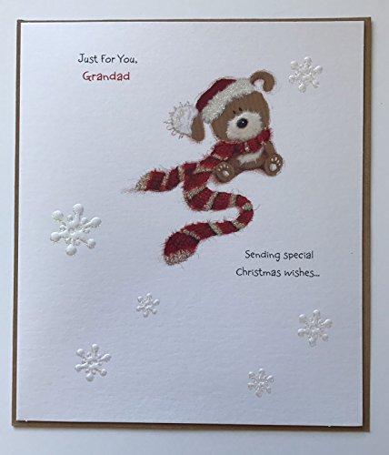 Grandad Cute Lots Off Woof Christmas New Uk Greetings Card - Teddy Bear