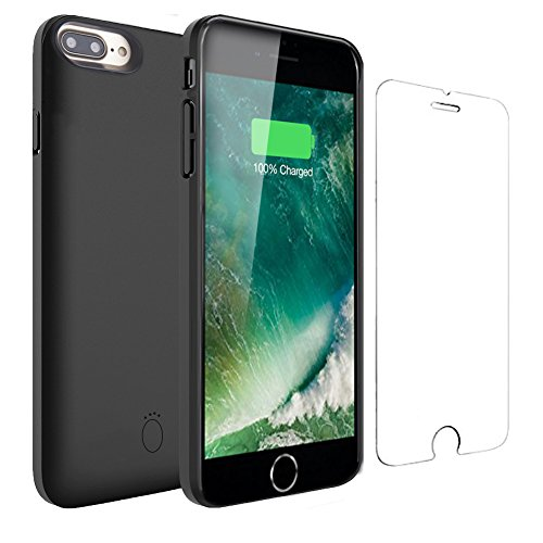 iPhone 8 Plus Battery Case - 7500mAh Portable Battery Charger Case for iPhone 8 Plus/7 Plus/6 Plus/6s Plus Extended Battery Pack Protective Charging Case/Lightning Cable Input Mode(5.5 inch)